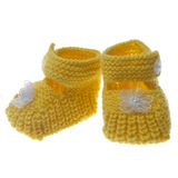 Yellow baby booties Royalty Free Stock Images