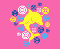 Yellow baby dolphin. Over pink background with targets Vector Illustration