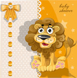 Yellow baby shower card with cute cartoon lion Royalty Free Stock Photo
