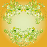 Yellow backdrop for text. With floral ornament petals and curlicues Royalty Free Stock Images