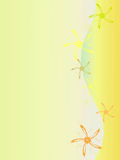 Yellow background. Computer generated illustration of yellow background with abstract flowers Stock Photo