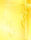 Yellow background. Original background for your composition, created with use of various lines, flowers, leaves Royalty Free Stock Images