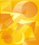 Yellow background. The illustration representing various geometrical translucent figures of yellow and orange color on a yellow background Royalty Free Stock Photography
