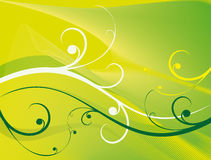 Yellow background. Elegant pattern and green and light curls on a yellow background Stock Image
