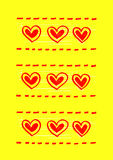 Yellow background with abstract red hearts Stock Photography