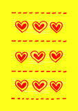 Yellow background with abstract red hearts Royalty Free Stock Images