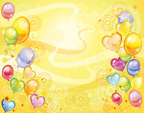 Yellow background with balloons. Colorful holiday yellow background with balloons, circles and wavy ornament. Vector illustration Stock Photo