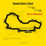 Final dash circuit. Yellow background with black road silhpuette and sample text Royalty Free Stock Photos