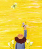 Yellow background with Boy. Acrylic illustration of Yellow background with Boy and colorful butterflies Stock Photography