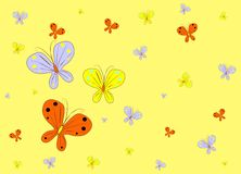 Yellow background with butterfly Stock Photos