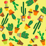 Yellow background with cactus flowers in pots. Yellow seamless background with cactus flowers in pots royalty free illustration