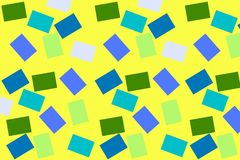 Yellow background with colored squares. Background with small rectangles. multi-colored cubes. Gradient colored squares stock illustration