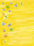 Yellow background with colorful butterflies. Acrylic illustration of Yellow background with colorful butterflies royalty free illustration