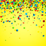 Yellow background with colorful confetti. Festive yellow background with colorful glossy confetti. Vector illustration Royalty Free Stock Images