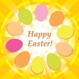 Yellow background with easter eggs - vector happy easter. Yellow vector background with easter eggs - happy easter vector illustration