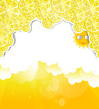 Yellow background with elements of lemons at the t Royalty Free Stock Image