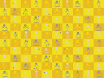 Yellow background with figures. Stock Photography