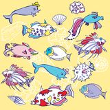 Yellow Background with  fishes and cockleshells Royalty Free Stock Photography