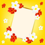 Yellow background with flower and frame Royalty Free Stock Images