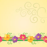 Yellow background flowers border Royalty Free Stock Image