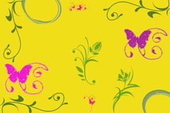 Yellow background with flowers and buterflies Stock Photos