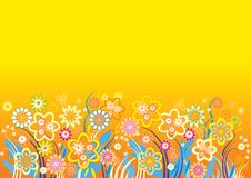 Yellow_background_flowers_vector Stock Photo