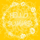 Yellow background with frame with text hello summer. Royalty Free Stock Photo
