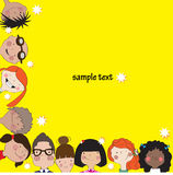 Yellow background with fun kids. Royalty Free Stock Images
