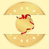 Yellow background with a gold ornament a round, horizontal banner and a round tag with a red ribbon and bow. Royalty Free Stock Images