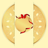 Yellow background with a gold ornament a round, vertical banner and a round tag with a red ribbon and bow. Vector Royalty Free Stock Photo