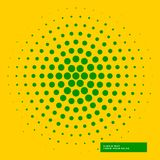 Yellow background with green halftone circle Stock Photos
