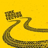 Yellow background with grunge tire tracks. Illustration Stock Photos