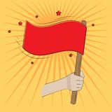 On yellow background hand waving a red flag. On a yellow background a hand holds and waves a red flag vector illustration