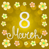 Yellow background 8 march with flowers and ellipses. Illustration. Illustration 8 of March Woman`s Day . Yellow background with silhouettes, text and flowers Vector Illustration