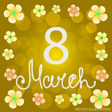 Yellow background 8 march with flowers and ellipses. Vector illustration Royalty Free Stock Photo