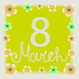 Yellow background 8 march with flowers. Illustration. Banner for the International Women`s Day on yellow background. Flyer for March 8 with the decor of flowers Royalty Free Stock Photography