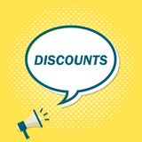 Yellow background with megaphone announcing text in speech bubble. Discount.  stock illustration