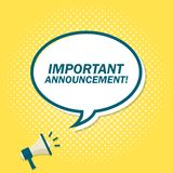 Yellow background with megaphone announcing text in speech bubble. Important announcement.  royalty free illustration