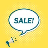 Yellow background with megaphone announcing text in speech bubble. Sale.  stock illustration