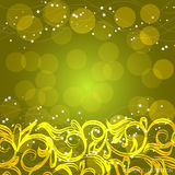Yellow background with ornamental border.Vector illustration. Beautiful background with ornamental border and stars in yellow colors.Vector illustration Royalty Free Stock Image