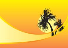Yellow background with palm trees Royalty Free Stock Images