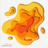 Yellow background with paper cut shapes. Vector illustration. 3D abstract carving art. Eps 10 stock illustration