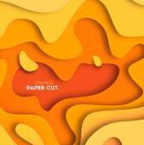 Yellow background with paper cut shapes. Vector illustration. 3D abstract carving art. Eps 10 royalty free illustration