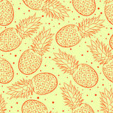 Yellow background with pineapple Royalty Free Stock Photo