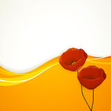 Yellow Background with Poppy Stock Image