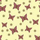 Yellow background with purple flowers and butterflies Stock Photo