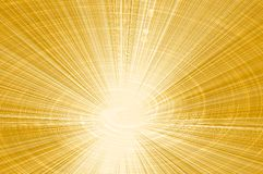 Yellow background of rays emerging from the center and a glowing spiral.  Stock Images