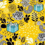 Yellow background seamless pattern with holiday presents. Vector endless illustration. Yellow background seamless pattern with holiday presents Stock Photos