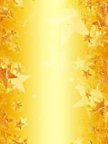 Yellow background with shining golden stars. Shining golden stars over yellow background, abstract christmas card Stock Images