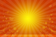 Yellow background with the sun and flower ornament Stock Photos